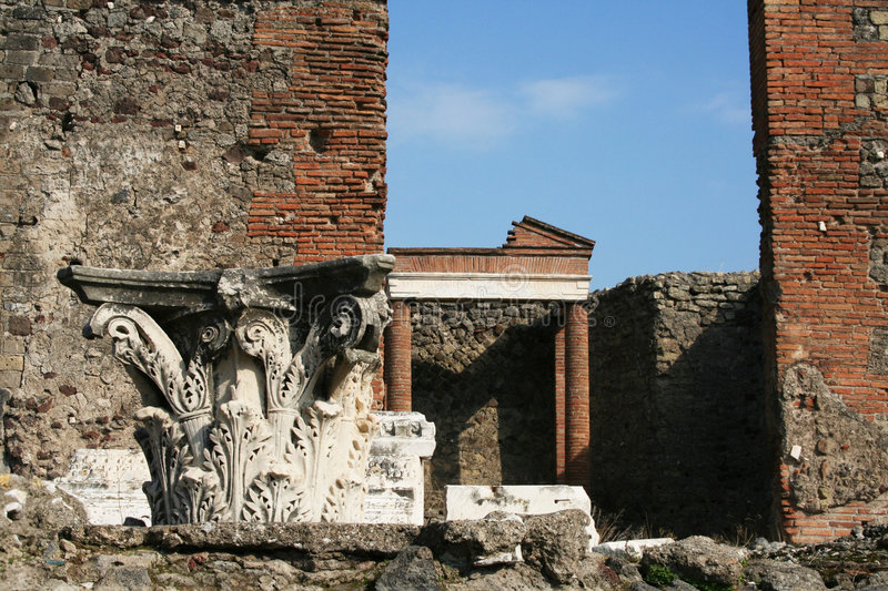 Roman Ruins - Pompeii - Italy. Roman ruins located in the ancient city of Pompeii, buried by Vesuvius during its eruption of 79 B. C stock images
