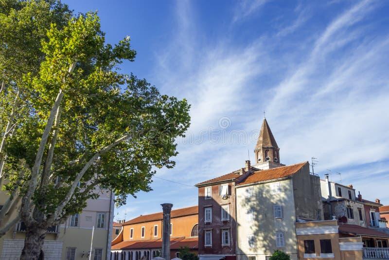 Roman ruins and St. Mary church in Zadar, Croatia stock photo