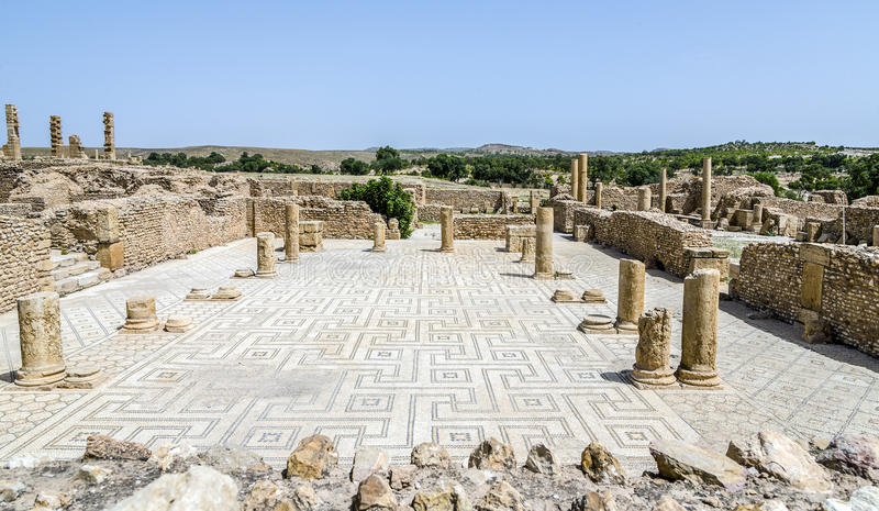 Roman ruins of Sufetula near Sbeitla stock photos