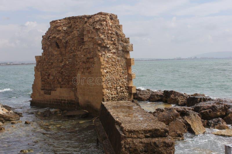 Roman Ruins in Tiberius op het Overzees van Galilee stock afbeelding