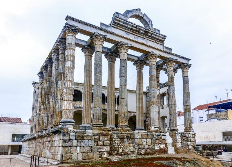 Roman Ruins van de Tempel van Diana in Merida, Spanje royalty-vrije stock afbeeldingen