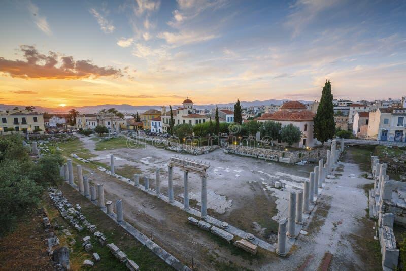 roman s sida acropolismarknadsplatsathens för tätt hadrian arkiv till sikten royaltyfri foto