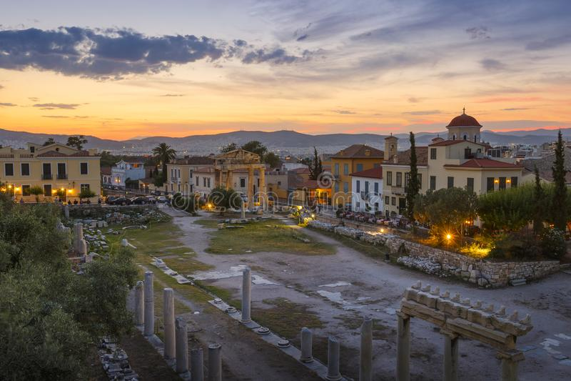 roman s sida acropolismarknadsplatsathens för tätt hadrian arkiv till sikten arkivbild