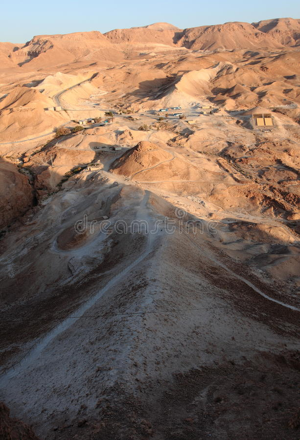 Roman Siege Ramp från den Masada fästningen arkivbild