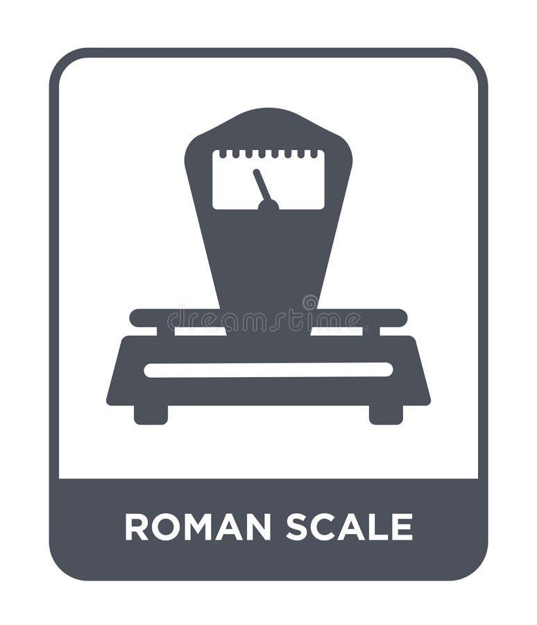 roman skalasymbol i moderiktig designstil roman skalasymbol som isoleras på vit bakgrund roman modern skalavektorsymbol som är en stock illustrationer