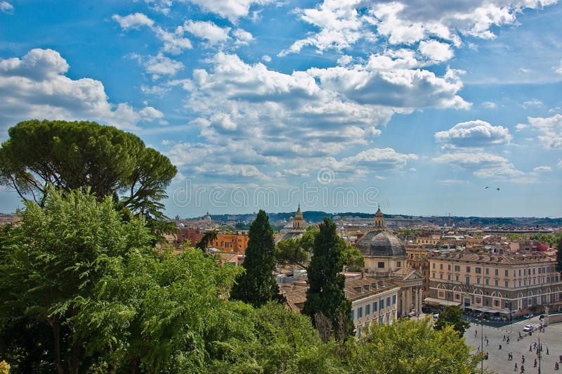 Roman skyline. Buildings and church dome in Rome, italy stock photography