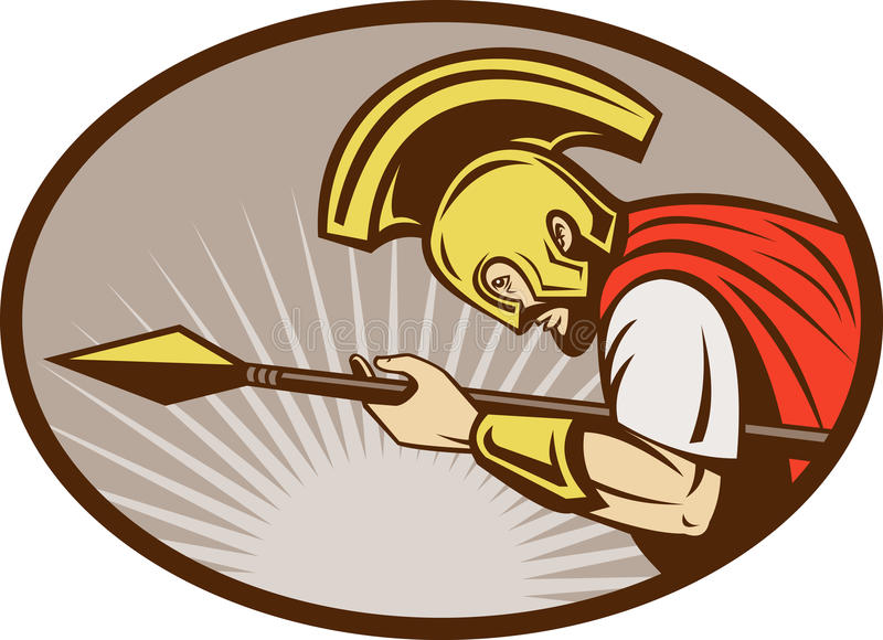 Download Roman Soldier Or Gladiator Attacking With Spear Stock Illustration - Illustration: 14949035