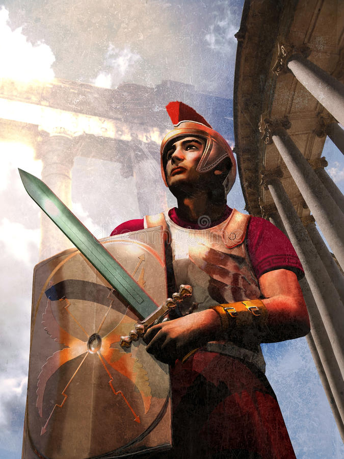 Roman soldier and monuments stock illustration