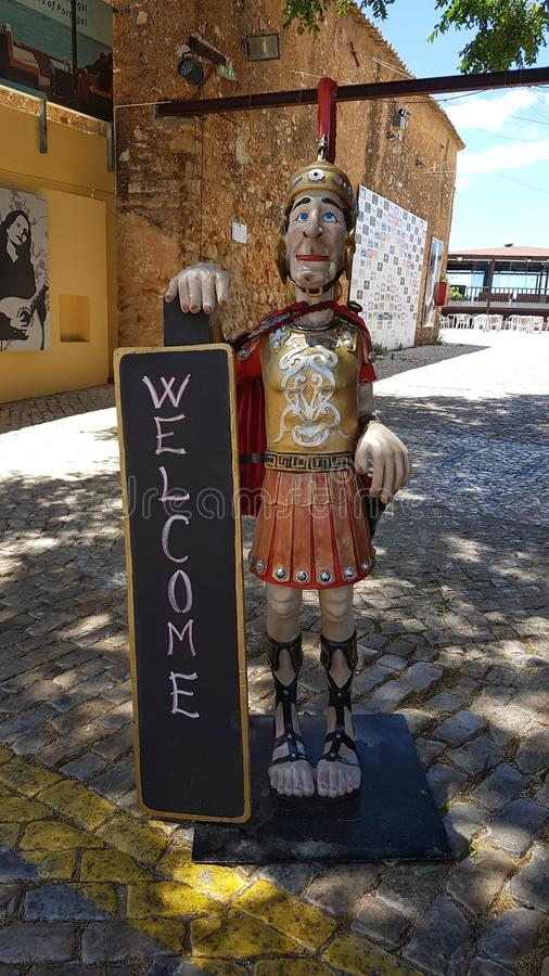 Roman Soldier Restaurant Welcome Sign fotografia de stock royalty free