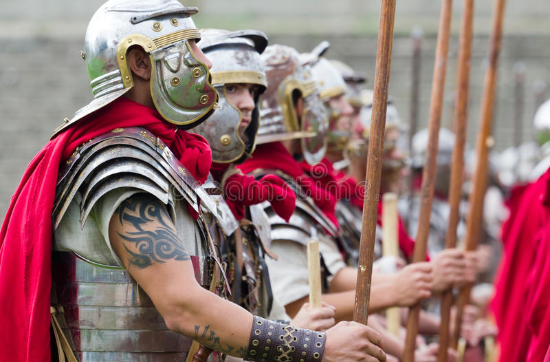 Roman soldiers in armor royalty free stock photos
