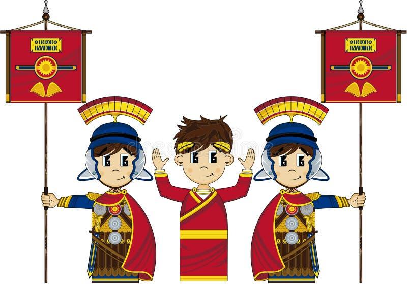 Roman Soldiers e imperador ilustração royalty free
