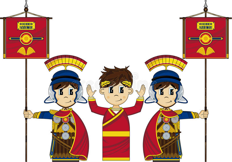 Roman Soldiers ed imperatore royalty illustrazione gratis