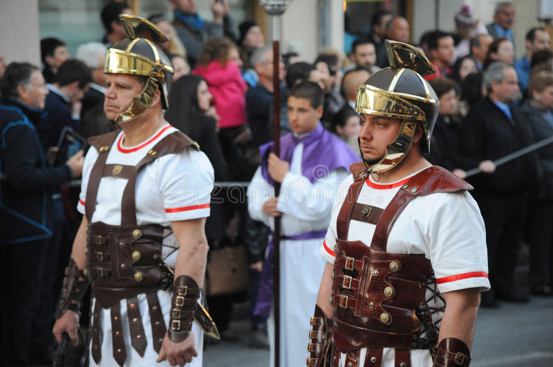 Roman soldiers in the Good Friday procession, Malta. stock images