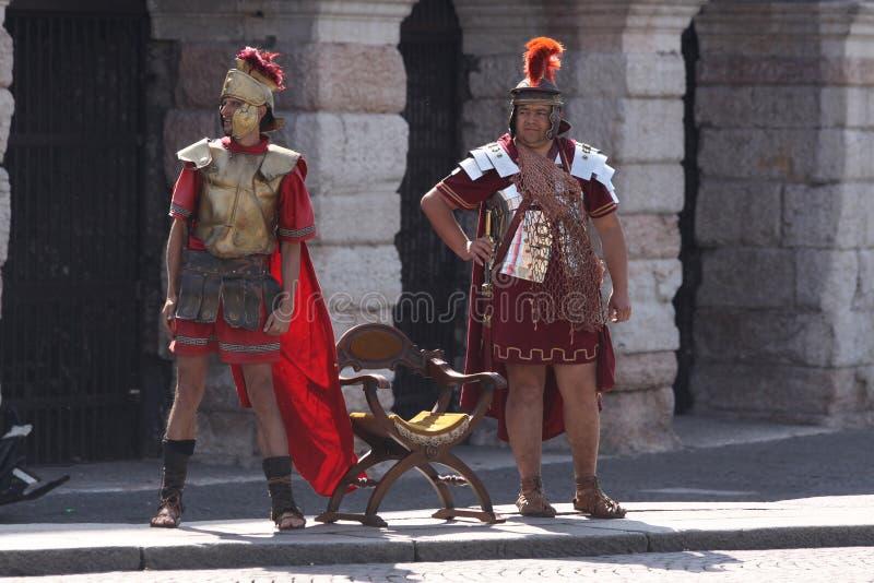 Roman soldiers in Verona stock image