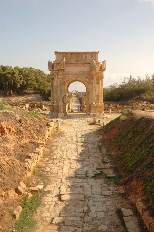 Roman stad van Leptis Magna, Libië royalty-vrije stock fotografie