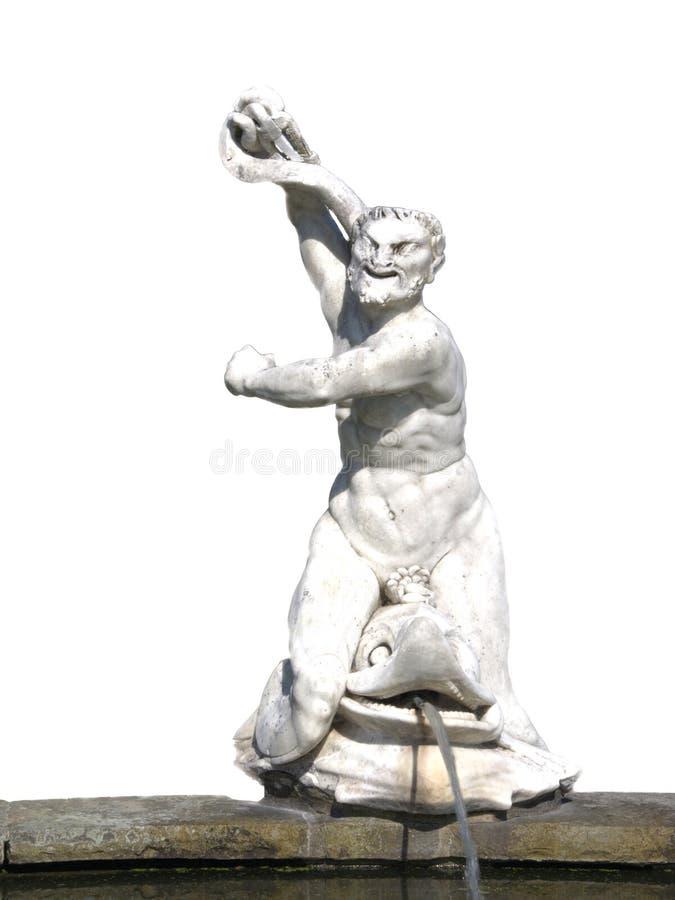 Roman Statue de Neptune montant un dauphin image libre de droits