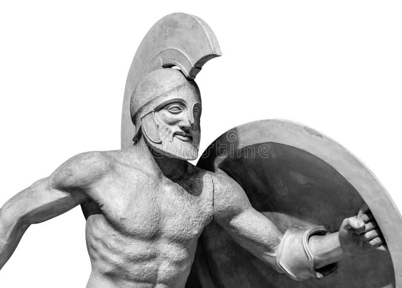 Roman statue of warrior in helmet stock images