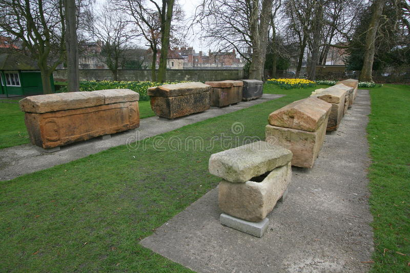 Roman stone coffins. Roman stone carved coffins in the city of York in England stock photo