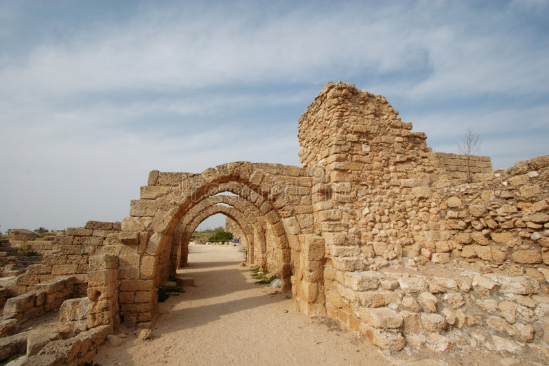 Roman street ruins stock image