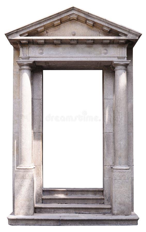 Roman-style door. Under sunshine isolated on white stock images