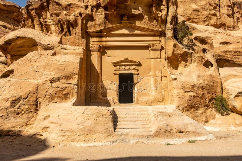 Roman-style Nabatean temple at Little Petra, Jordan stock photography