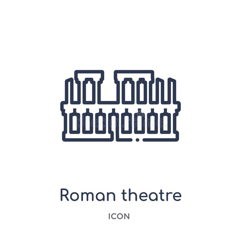 roman teater av den merida symbolen från monumentöversiktssamling Tunn linje roman teater av den merida symbolen som isoleras på  stock illustrationer
