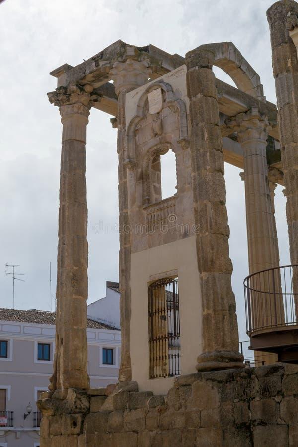 Roman tempel aan Diana in Merida (Spanje stock foto's