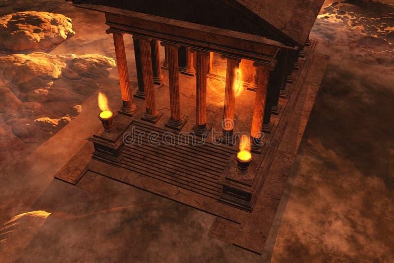 Roman tempel bij zonsondergang vector illustratie