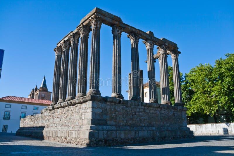 Roman tempel in Evora, Portugal royalty-vrije stock foto