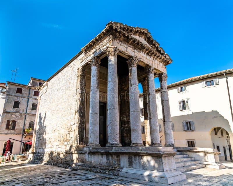 Roman tempel van Augustus in Pula, Kroati? stock fotografie