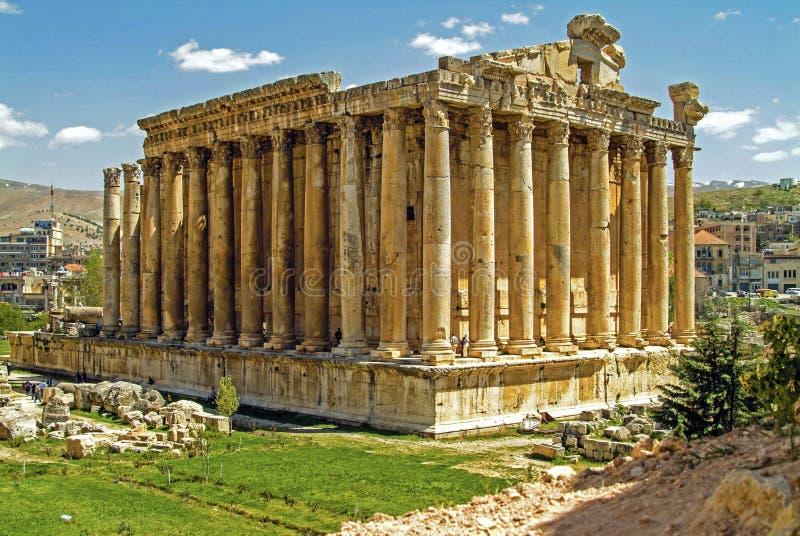 Roman Temple antigo de Baccdhus - deus do vinho - em Baalbek em Líbano foto de stock