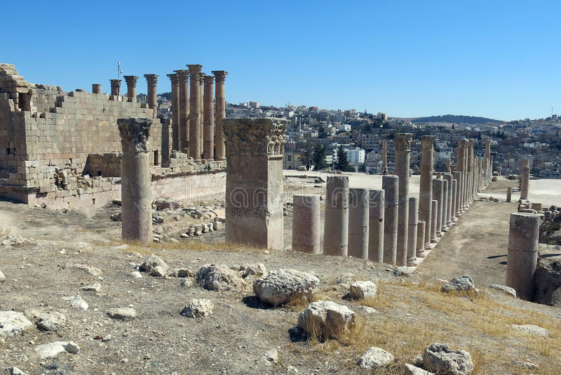 Roman Temple in the city of Jerash stock photos