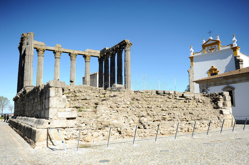 Roman temple of Diana and the Church of Saint John the evangelist, Evora, Portugal stock image