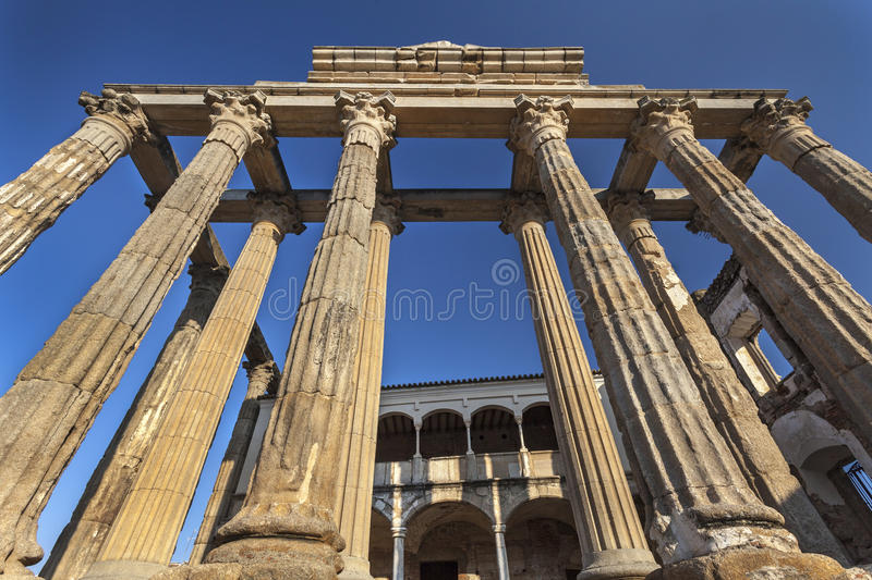 Roman temple of Diana at Merida royalty free stock photo