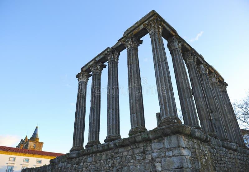 Roman temple of Diana at sunset, Evora, Portugal stock photos