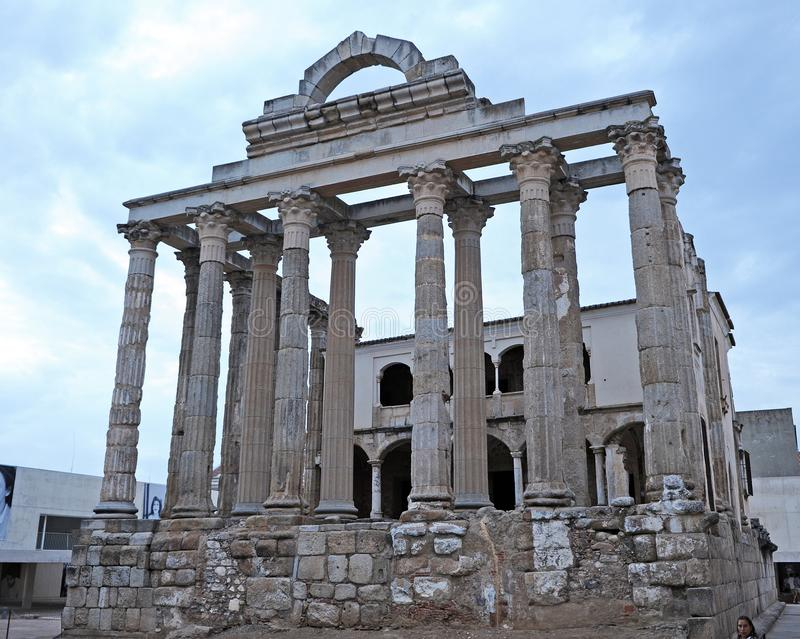 Roman The Temple of Diana at sunset in Merida, Extremadura Region, Spain stock image