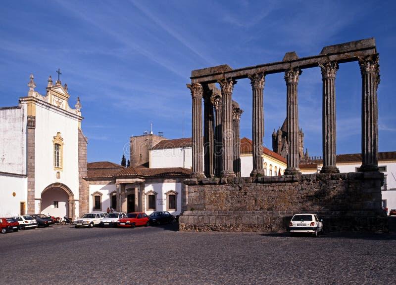 Roman Temple, Evora stock afbeelding