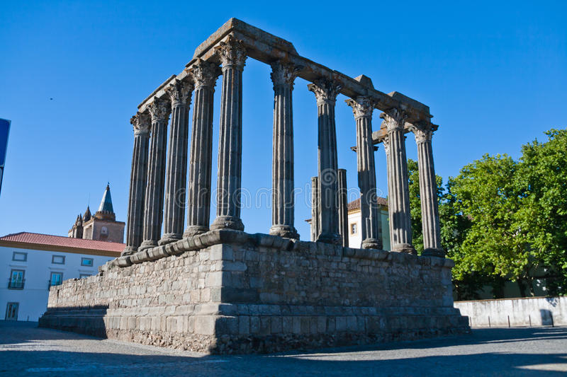 Roman temple in Evora, Portugal royalty free stock photo