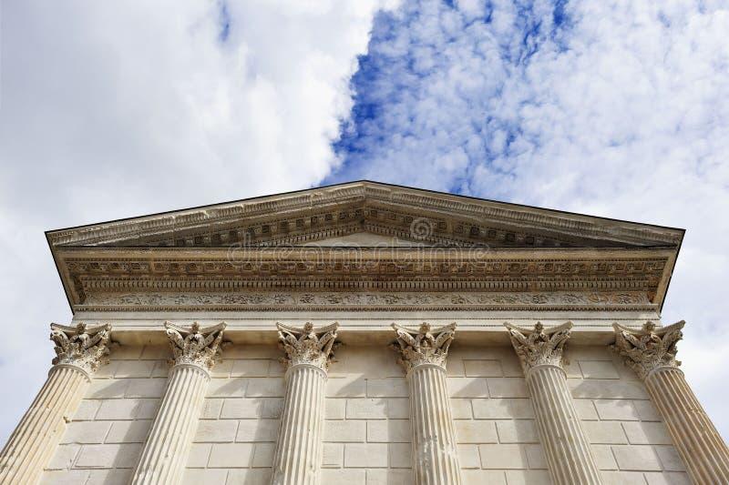 Roman temple facade with columns and fronton royalty free stock photos
