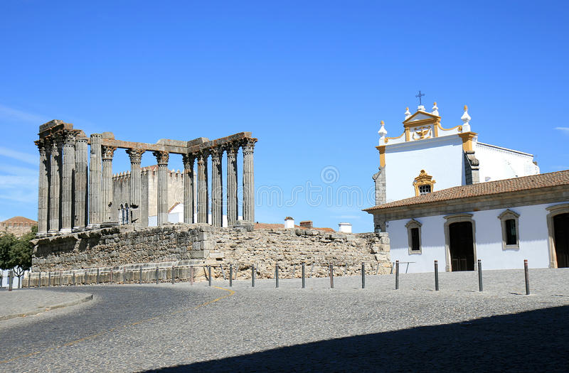 Roman Temple and Igreja dos Loios, Evora, Portugal royalty free stock image
