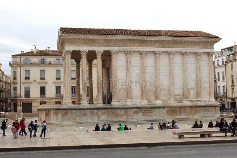 Roman Temple Maison Carrée, Nîmes, Frankrijk royalty-vrije stock fotografie