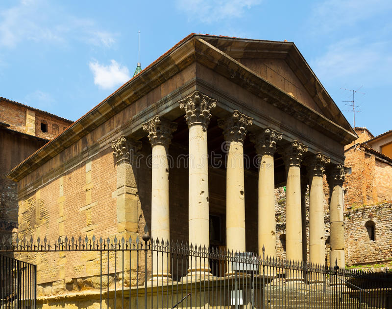 Roman temple of Vic, Spain. The building dates from the early 2nd century stock photos