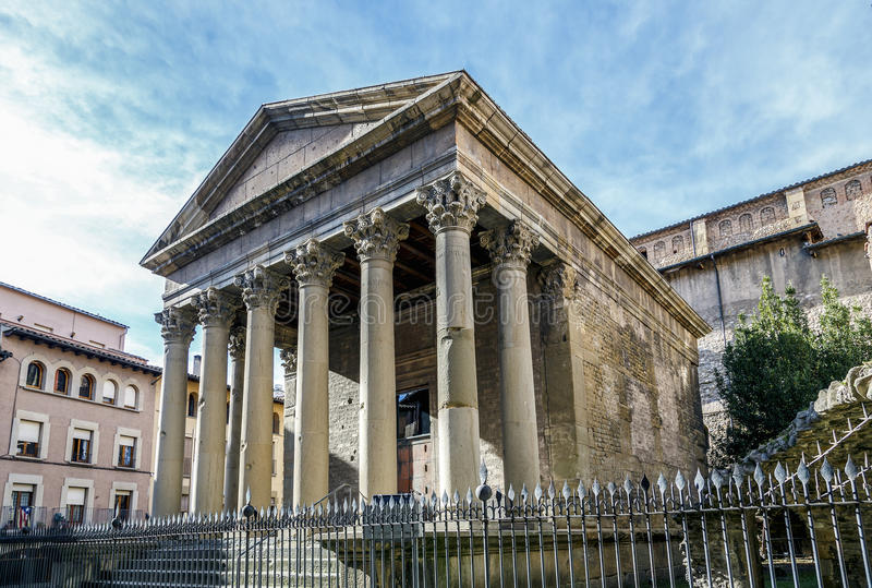 Roman temple of Vic, Spain. The building dates from the early 2nd century royalty free stock photo