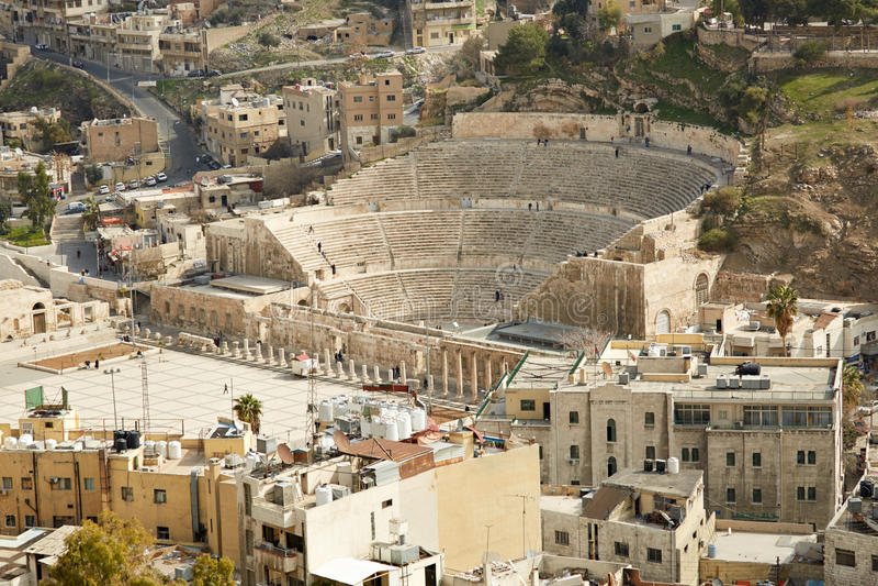 Roman theater in Amman, Jordanië lucht royalty-vrije stock foto