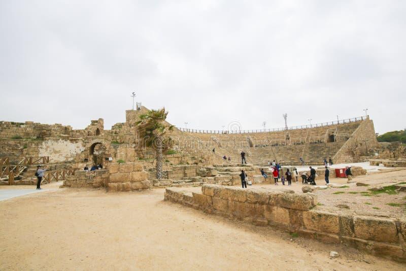 Roman Theater antique de Césarée en Israël image stock