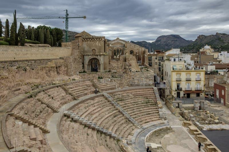 Roman Theater, Cartagena, Spanien arkivfoto