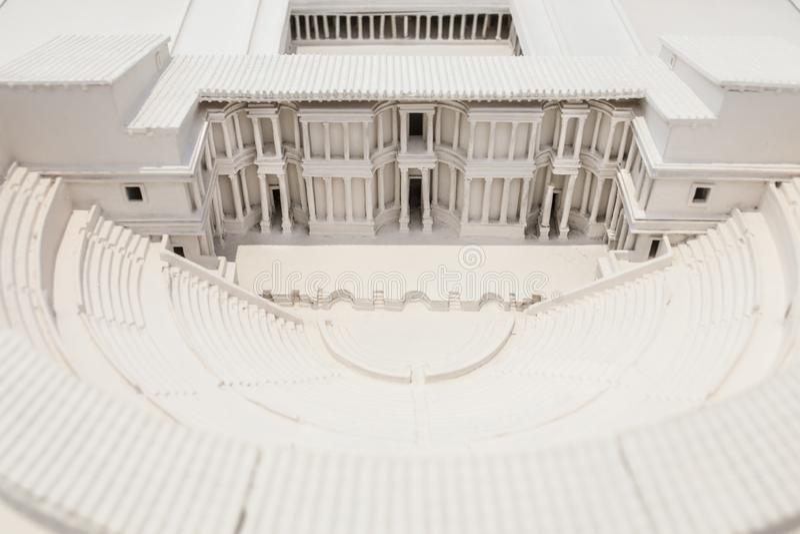 Roman Theater del modello di scala di Cartagine a Roman Theater Museum di Cartagine, Murcia, Spagna immagine stock