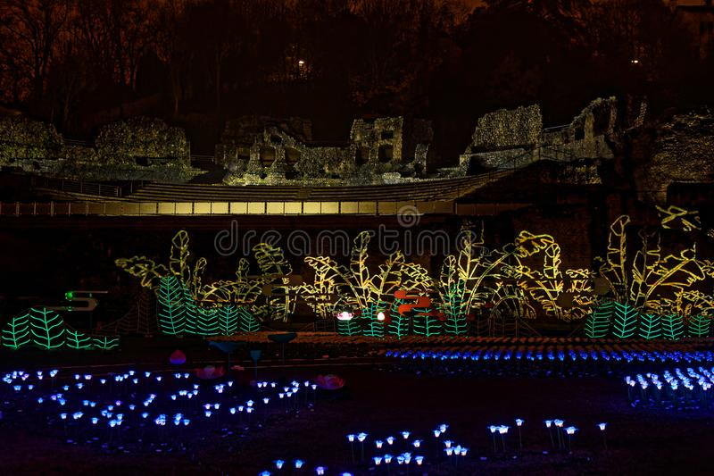 Roman theater of Fourviere during Festival of lights stock image