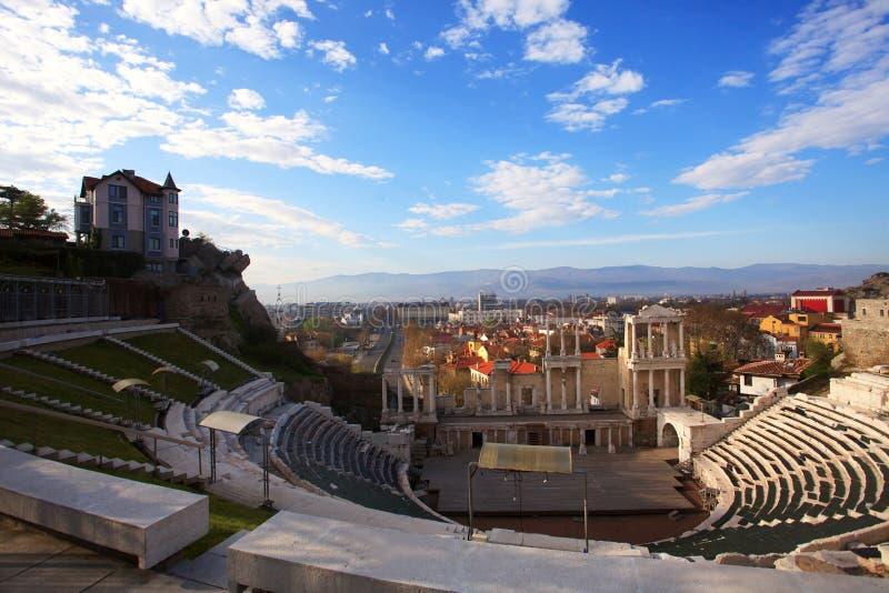Roman theater van Philippopolis in Bulgaarse stad van Plovdiv De stad zal Europees kapitaal van Cu zijn royalty-vrije stock afbeeldingen
