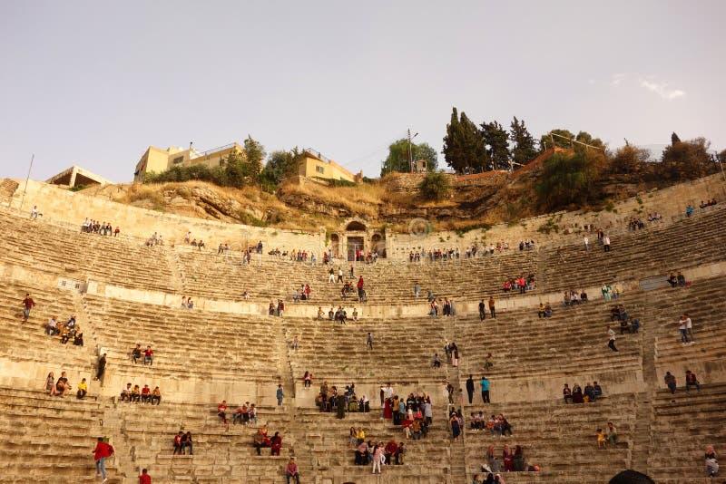 Roman Theatre a Amman dentro fotografia stock libera da diritti